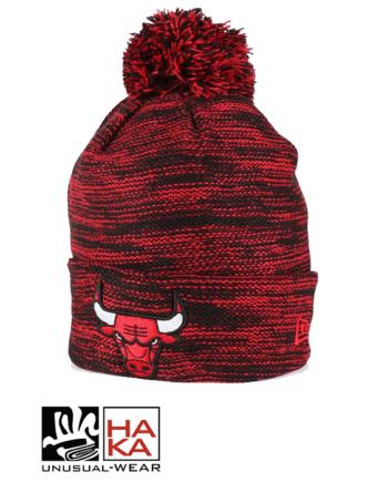 New Era Chicago Bulls Marl Knit Beanie Black Red haka shop
