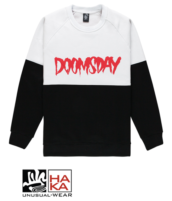 Doomsday Society Logo Crewneck 2 Tones Black White haka shop
