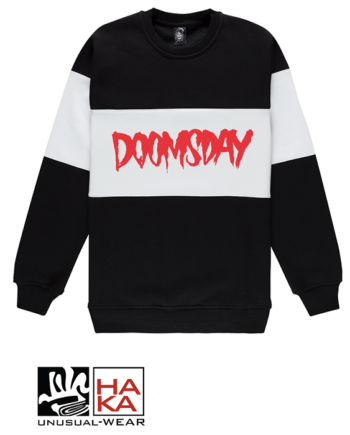 Doomsday Society Logo Crewneck 3 Tones Black White haka shop