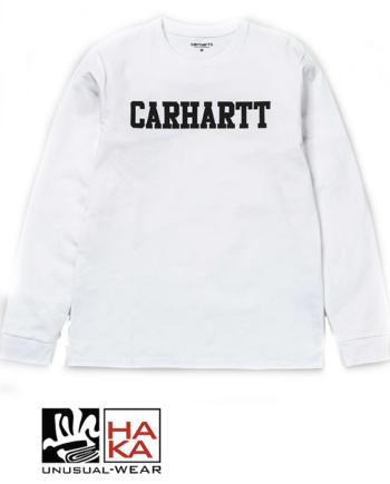 Carhartt L S College T-Shirt White Black haka shop