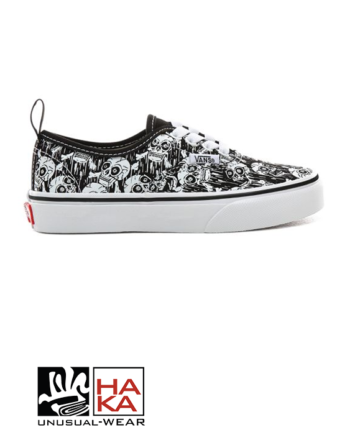 Vans Authentic Elastic (Glow Skulls) Black True White haka shop