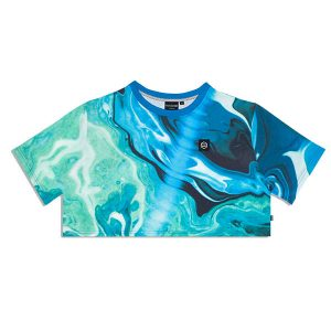 Dolly Noire Blue Liquid Crop Top Blue haka shop