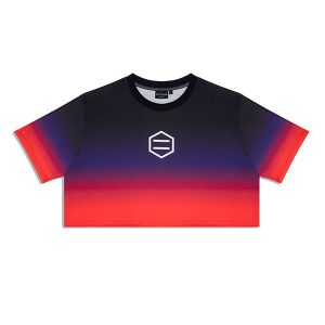 Dolly Noire Gradient Crop Top Black & Red haka shop